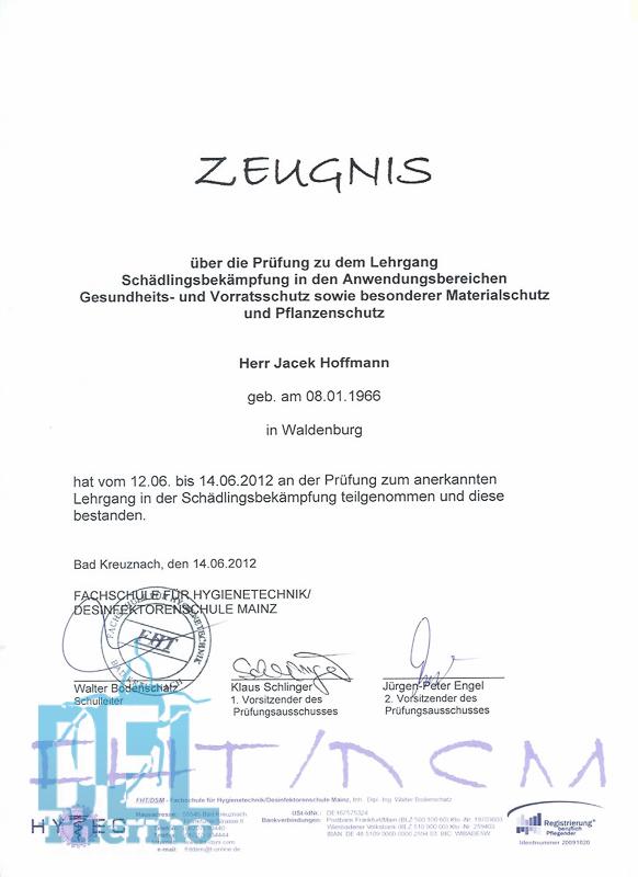 Qualifikationen - Kammerjäger Frankfurt Qualifikation